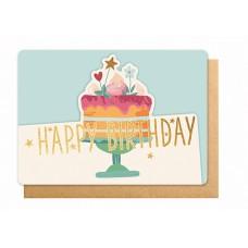Wenskaart met taart - Happy birthday